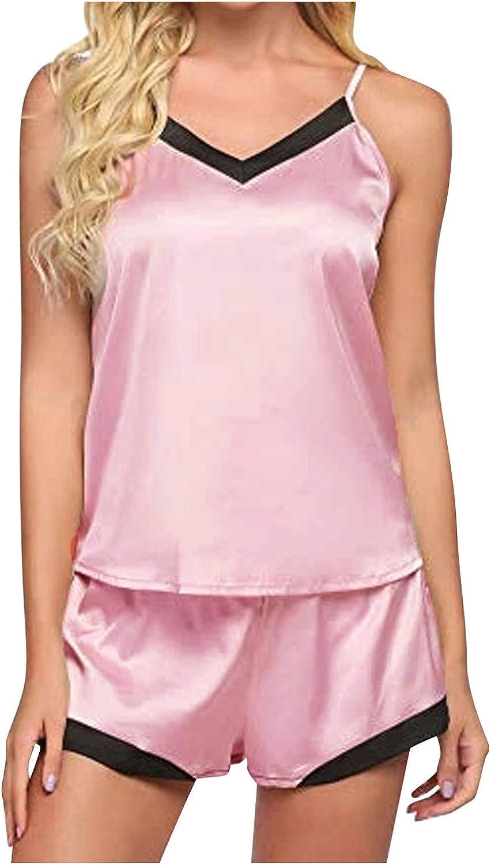 Women's Satin Pajama Lingerie Set Plus Size Spaghetti Strap Lace Trim Soft Cami with Shorts Sleepwear Set