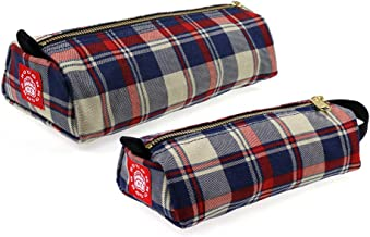 Rough Enough Classic Vintage Fancy Fashion Durable Canvas Checkered Lattice Pattern Small Pencil Case Pouch Holder Pen Pouch Cosmetic Bag Storage Zipper Box for Art School Supplies College Student Set