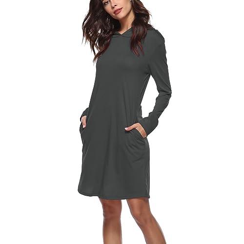 390dbef41f93 Amzmem Women's Jersey Pullover Hoodie Dress Long Sleeve Hooded Sweatshirt  Dress with Pocket (14 Colors