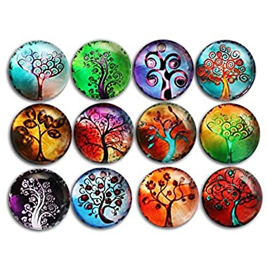 12pcs Tree Refrigerator Magnets, Crystal Glass Fridge stickers, Cosylove Tree of Life Magnets for Office,Cabinets,Whiteboards, Photos, Calendar, Decorative Fridge, Home Decoration