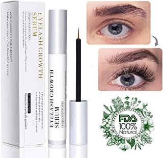 Natural Eyelash Growth Serum Enhancer Brow & Lash Serum Enhancing Formula & Rapid Brow Serum Growth Treatment for Longer, Thicker Eyelashes and Eyebrows 5ML