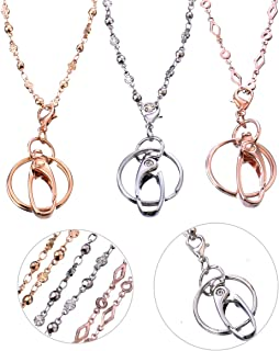 Lanyard Necklace 3 Packs,Fashion Women Chain lanyards for ID Badge Holder and Keys Silver,Rose Gold,Gold