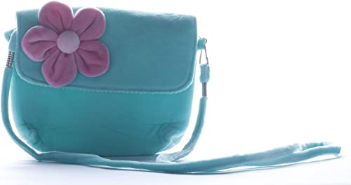Soft Plush Canvis Flower Sling Bag For Kids Girls From Age 1 To 10 Years Blue Bag Pink Flower