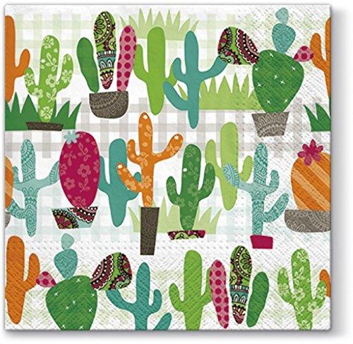 20 Servietten Bunte Kakteen/Pflanzen/Natur/Mexiko 33x33cm