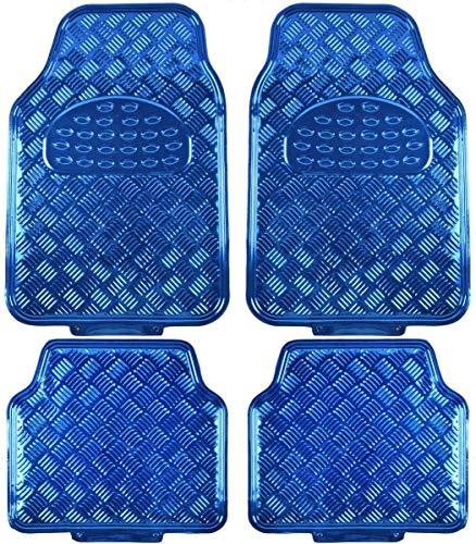 Alfombrillas Universales para Vehículos, Alfombrillas de Goma para Coche con Diseño Metálico, 4 Unidades (Azul, 4 Piezas)