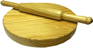 Handmade Wooden Chapati Maker Serving Board Round Roti Maker with Rolling Pin Kitchen Useful Tool 9 Inch