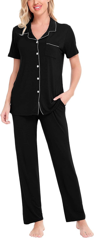 SWOMOG Women Pajama Sets Two-Piece Nightwear Short Sleeve Sleepwear Button Down Pj Lounge Sets with Long Pants