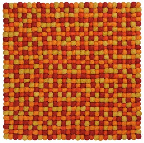 Filzkugel Sitzauflage/Stuhlauflage - Loni - 36x36 cm, rot/gelb