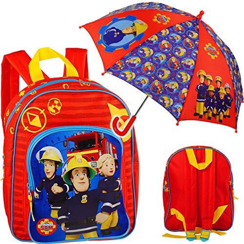alles-meine.de GmbH 2 TLG. Set: Kinder Rucksack + Regenschirm - Feuerwehr & Feuerwehrmann Sam - Tasche - beschichtet & wasserfest - Kinderrucksack / groß Kind - Jungen - Kindersc..