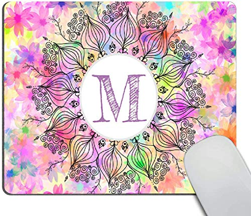 Mouse pad,Monogram Girly Colorful Mandala Sunflower Pattern Waterproof Anime Gaming Gift Mouse Pad Desk Accessories Non-Slip Rubber Mousepad for Laptop Wireless Mouse
