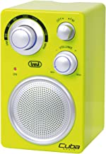 Trevi RA742 Cuba – Radio analógica portatil FM a batería con entrada auxiliar para smartphones, Color verde
