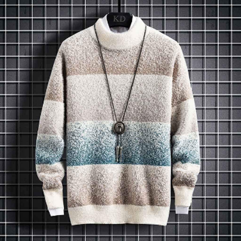 ZYING New Winter Cashmere Sweater Men Fashion Striped Male Jumpers Half Turtleneck Thick Warm Mens Pullovers Sweaters Tops (Color : XL Code)