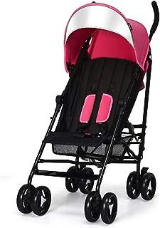 INFANS Lightweight Baby Umbrella Stroller, Foldable Infant Travel Stroller with Carry Belt, 4 Position Recline, Adjustable Backrest, UV Protection Canopy, Cup Holder, Storage Basket (Light Pink)
