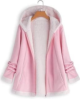 ANJUNIE Jacket Women's Curved Hem Longline Faux Fur Sherpa Fleece Hoodie Coat
