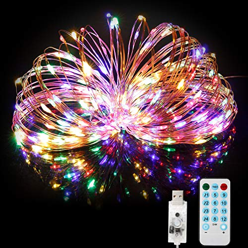 BITIWEND Stringa Luci LED, Catena Luci Decorative 20M 200 LED con Ingresso USB, Filo di Rame Impermeabile IP65 da Esterno con Telecomando Giardino Natale Matrimonio Piscina- Luci Colorate