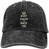 Harla Keep Calm Bass On Unisex Jeans Lavados Gorra de béisbol Cierre Trasero Ajustable Sombrero de Camionero Sombreros de Pescado