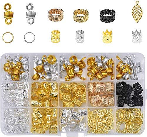 Moguxb Anillos para Trenzas 200 Piezas Dreadlocks de Bobina de Pelo de Aluminio Colgantes Puños de Pelo de Metal Abalorios de Trenza para Trenzas Extensiones de Cabello Accesorio de Decoración