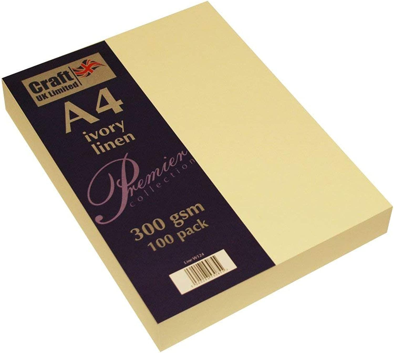 Craft UK Karte A4 ivory weiß, Leinen glatt 100 bis 500 Blatt, 300 gsm (4 Packungen Elfenbein Leinen) B07FSYSL2T | Förderung