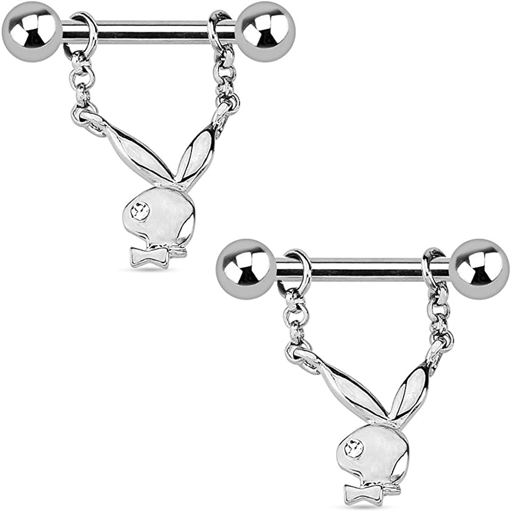 Dynamique Playboy Bunny with Single Gem Dangle 316L Surgical Steel Nipple Bar (Sold Per Pair)