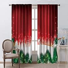 Waynekeysl Polyester Curtain for Party,Christmas Blurry Xmas Carol Background with Santa Fir Rudolph Annual Festival Image Rod Pocket Window Curtains(W84 x L106 Inch)