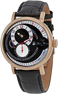 Men's 'Supernova' Automatic Stainless Steel and Black Leather Casual Watch (Model: LP-15157-RG-01)