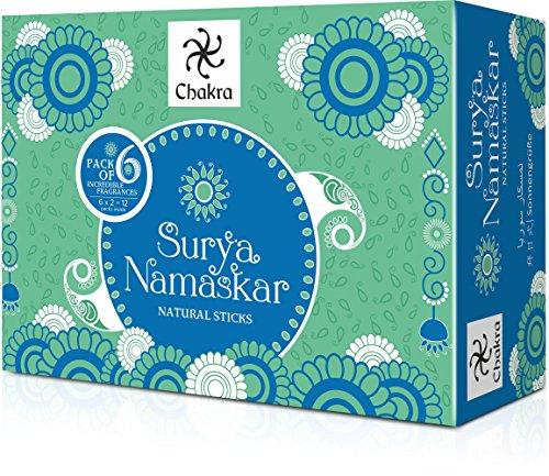 Chakra Surya Namaskar Langlebig Räucherstäbchen, 6 Duft -, die aus natürlichen ätherischen Ölen & Herbal Ingredients- Inspiriert von Yoga aasanas- Effektive für Meditation und Yoga-Pack von 12