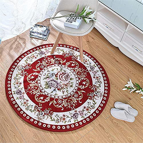 USTIDE Area Rug Red with Flower Classical Style Area Rugs Home Decorator Carpets Comfortable Fashion Floor Mat Round Chair Cover Area Rug 31.5''x31.5''