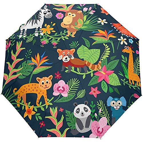 Tropischer Karikatur-AFFE-Bärzebra-Palme-Selbstoffener Regenschirm-Sonnenregen-Regenschirm Anti-UV, der kompakten automatischen Regenschirm faltet