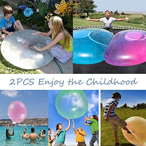 KRY 2PCS Bubble Balloon Inflatable Toy Ball Inflatable Bubble Ball, Tear Resistant Transparent Bounce Ball, Water Sports Outdoor Play Toys