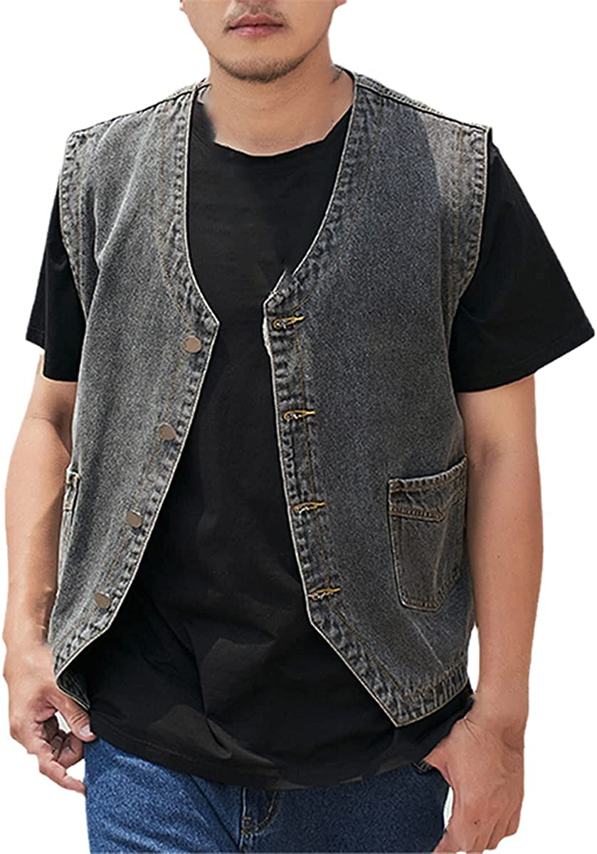 Summer Single-Breasted Men's Washed Gray Denim Vest Coat fashion Loose Male Sleeveless Jeans Jacket