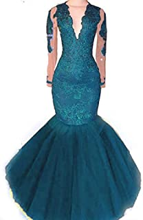 a30012324b4 Womens V Neck Long Sleeve Lace Prom Dresses Mermaid 2019 Tulle Beaded  Formal Evening Party Ball