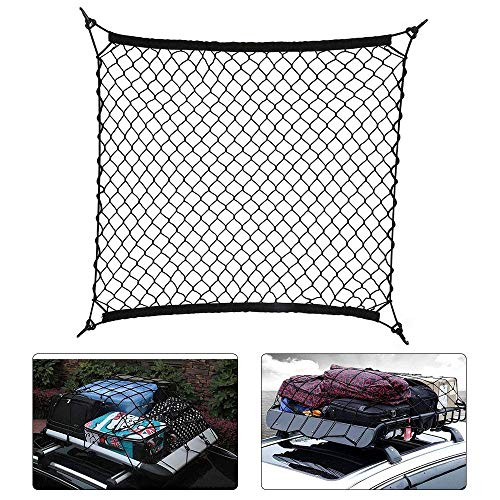 KYJ Cargo Net Auto Dak Bagage Net Vrachtvervoer Netto Riem Haak Elastisch Net 70 cm X 70 cm