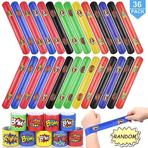 POKONBOY Slap Bracelets for Kids - 36 Pack Slap Bracelets Birthday Party Favors Supplies Carnival Prizes Christmas (Storage Bag Included)