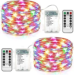 DooVee 2 Packs Led Christmas String Lights Battery Powered 100 LED 33ft 8 Modes Waterproof Led Fairy Lights with Remote & Timer for Indoor/Outdoor, Party, Room, Wedding, Xmas Tree Decor (Multicolor)