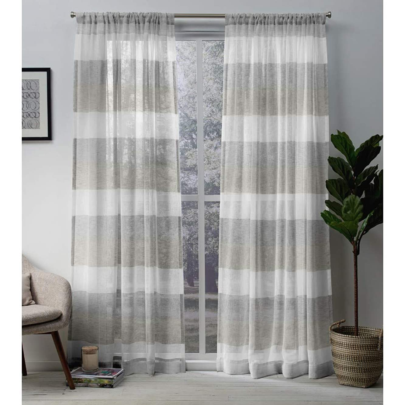 Exclusive Home Curtains Bern Stripe Sheer Window Curtain Panel Pair with Rod Pocket, 54x108, Dove Grey, 2 Piece