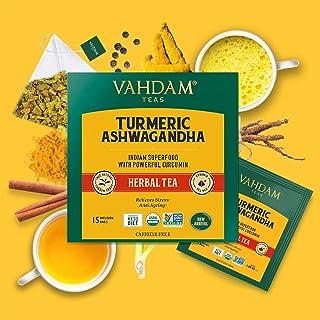 Vahdam Teas Turmeric Ashwagandha Herbal Tea Bags- 15 Tea Bags