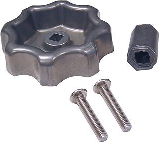 Danco Universal Outdoor Faucet Water Spigot Handle   Hose Bibb Round Wheel Handle Replacement   Includes Screws   Metal (10006), Silver/Pewter