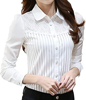 JHVYF Women's Casual Chiffon Blouses Peter Pan Collar Ladies Long Sleeve Slim Fit Blouses Shirts Tops