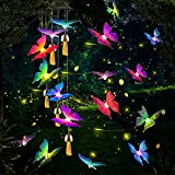 Carocallo Solar Butterfly Wind Chime for Outside Hanging Waterproof Wind Chimes with Automotive Color Changing LED Lights for Patio, Porch, Garden, or Backyard Great Gifts for Mom or Dad