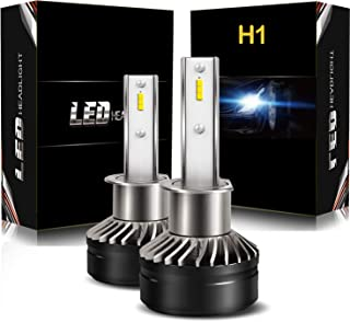 H1 Hi/Lo Adjustable Combo Package LED Headlight Bulbs Fog Light Kit with Fan, DOT Approved AUSI D6 Series Mini Design Upgraded CSP Chips 6000K Xenon White - 1 Year Warranty (2 Pack)
