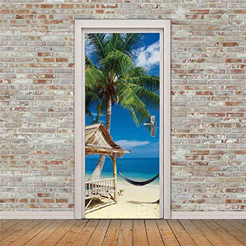 APAJSG Pegatinas Puertas Interiores 3D Vinilo Autoadhesivo Adhesivos para puertas Dormitorio decoración del hogar Cartel 95x215 cm Hamaca de playa