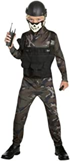 Skull Commando 5- Piece Camouflage Costume Play Outfit for Halloween or Roll Play