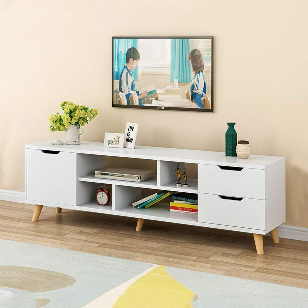 Amazon Com Huaquyuedu Modern White Tv Stand For Living Room Tv Console With Storage Cabinet And 2 Drawer Home Media Entertainment Center For 50 55 60 Inch Tv Living Room Bedroom Furniture Furniture Decor