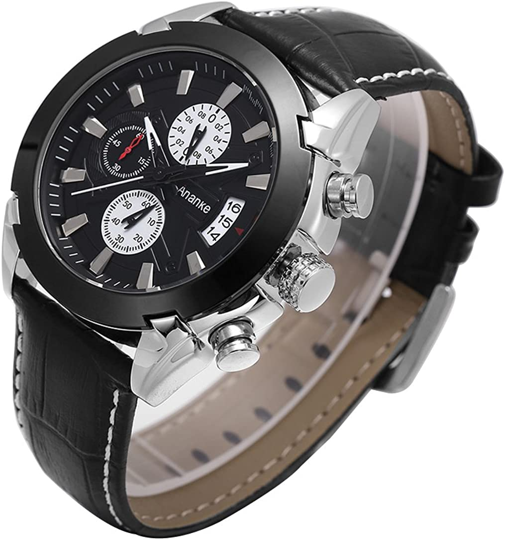 Men's Indianapolis Mall Business Waterproof Wristwatch Chrono Cheap mail order shopping Leather Strap Quartz