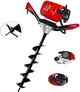 ECO LLC 52cc 2.4HP Gas Powered Post Hole Digger with 4 inch Earth Auger Drill Bit