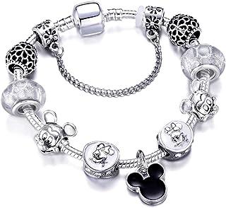 MIADEAL Mickey Mouse Charms Bracelet, Black, Girls Womens Kids Jewelry