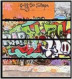Wallario Möbelfolie/Aufkleber, geeignet für IKEA Malm Kommode - Rap-Graffiti- Wand mit verschiedenen Tags mit 4 Schubfächern
