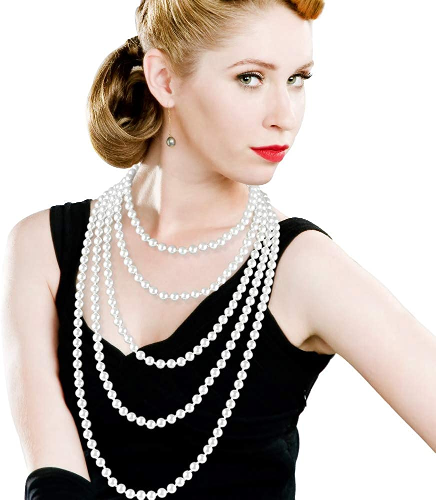 """Art Deco Fashion Faux Pearls Necklace 1920s Pearls Necklace Gatsby Accessories Vintage Costume Jewelry Cream Long Necklace for Women (2150"""")"""