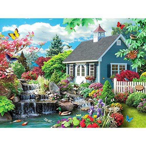 5D-Diamantgemälde zum Selbermachen, 40,6 x 50,8 cm, Gartenhaus, Mosaik, Diamant-Stickerei, Kreuzstich, Vollrunder Bohrer, Kunst, Handwerk für Zuhause, Wanddekoration, Geschenk