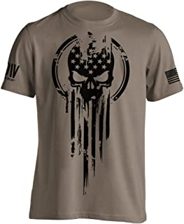 American Warrior Flag Skull Military T-Shirt